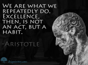 We are what we repeatedly do. Excellence, then, is not an act, but a habit - Aristotle quote